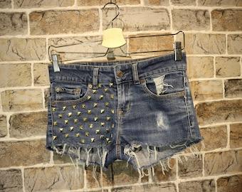 Studded Denim Shorts Frayed S/36