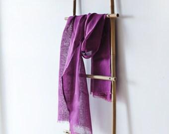 Linen Scarf / Bright Purple / Unisex Scarf