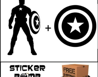 Captain America Decal Set Sticker Marvel Comics DC JDM The Avengers