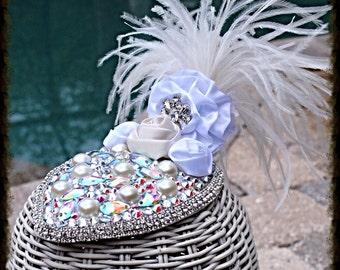 Swarovski Crystal Wedding Bridal White Fascinator Hat Headpiece