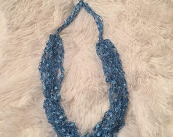 Blue, Ladder Yarn Necklace/Jewelry/Crocheted Ribbon Necklace/Necklace/Fiber Jewelry/Jewelry/Ladder Necklace/ Boho/Crochet/Crochet Jewelry