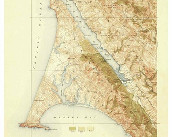 Point Reyes 1918 Old Topo Map - 1918 Printing - An edited reprint of the original quad - USGS Topographic California 15x15