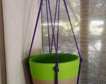 Modern macrame plant hanger, macrame plant hanger, modern plant hanger, macrame hanger, modern macrame, beaded plant hanger, macrame purple