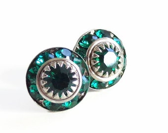 Emerald Green Crystal Post Earrings - created by Vintage Swarovski® crystal
