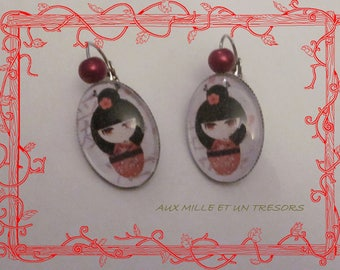 Geisha doll earrings