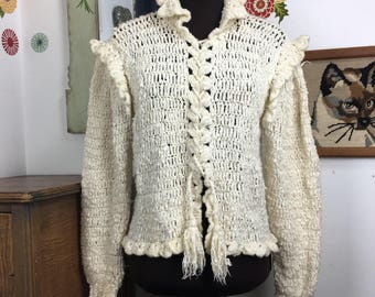 Vintage Crochet Sweater Ivory Puff Sleeve Cardigan Hand Crochet Gil Aimbez for Static Art Sweater Corset Front