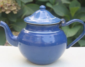 Vintage Small Blue Enamel Teapot with Hinged Lid