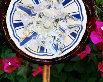 Miss America • Yard Art • Glass Garden Flower • Repurposed Partiotic Star Red White Blue • 4th of July • Freedom