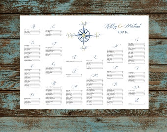 Nautical Compass Beach Seating Chart for Table Assignments Wedding Reception - Printable PDF Digital File