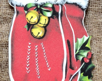 Warm Greetings Mitten Christmas Gift or Scrapbook Tags #226