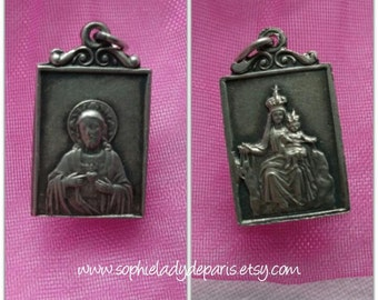 Victorian Heart Of Jesus Medal and Our Lady Antique late 1800's French Silver Religious Medal #sophieladydeparis
