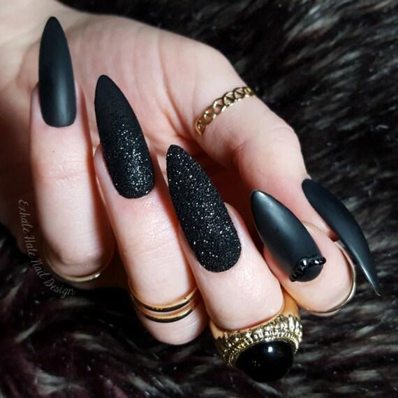 Matte Black x Glitter x Swarovski Fake Press On Nails - Stiletto ...