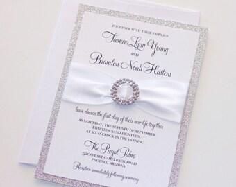 Silver Glitter Wedding Invitation - Elegant Wedding Invitation - Rhinestone Bling Invite, White Silver Invitation - Tamara Sample