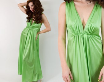 70s Lime Nightgown | Bright Green Sleeveless Long Maxi Dress Slip Lingerie | Medium