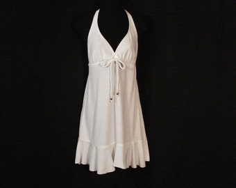 Catalina Halter Dress Swimsuit Cover Up White Terrycloth M( 8-10 )