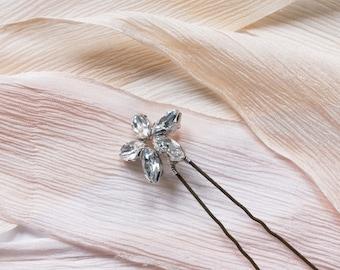 Daisy Hair Pin - Bridal hair pin, Bridal hair accessories, Flower hair pin, Swarovski hair pin, Crystal hair pin, silver, gold, rose gold