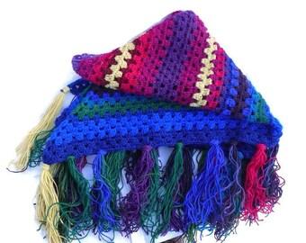 Crochet Wool Shawl, Bright Color Shawl, Knit Winter Shawl, Warm Shawl, Gift For Her, 100% Wool, Handmade From Sweden