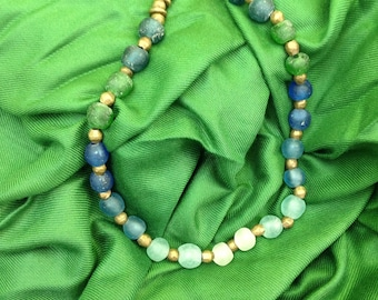 Blue and green glass beads antique and brass