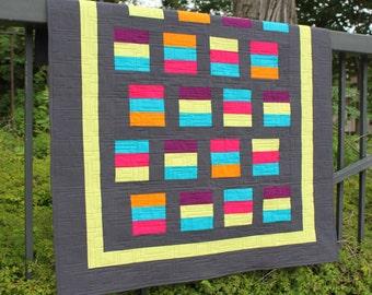 "Shuffle Step 2-1/2"" Strip Quilt Pattern - Multiple Sizes -  PDF version"