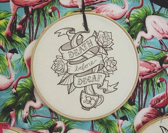 Death Before Decaf embroidery hoop, wall art, machine embroidery