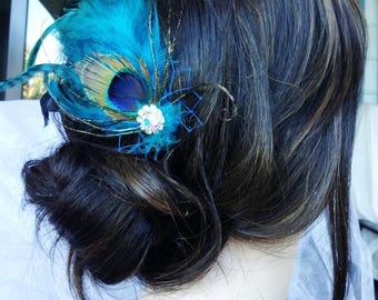Feather Fascinator, Wedding Hair Comb - Wedding Feather Hair Comb, Bridal Hair Comb, Feather Hair Comb, Feather Fascinator