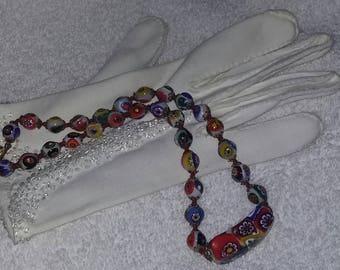 True Vintage Rare Design Murano Glass Multicolor Bead Necklace