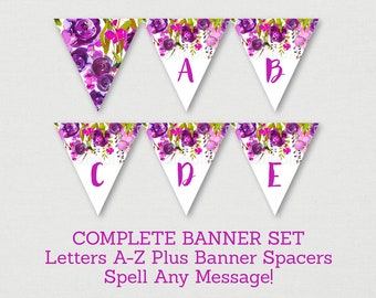 Purple Floral Baby Shower Banner / Floral Baby Shower / Watercolor Floral / Flower Banner / Letters A-Z / Printable INSTANT DOWNLOAD A167