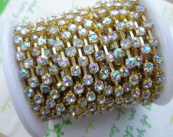 AB shiny  rhinestone chain ( Gold tone ) 4mm stone 15.5 inches (Last piece left )