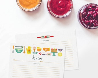 Recipe Cards Set of 15, 30 or 50 - Retro Kitchen - 4x6 Recipe Cards - High Quality Linen Cardstock