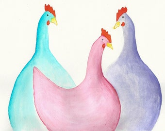 Three portly hens an original painting watercolour by Lesley Ann (slightly bigger than A4)