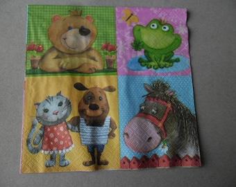 x 1 napkin of super small animals 33 x 33 cm