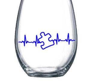 Autism Awareness - heart beat puzzle-Stemless Wine Cup (plastic stemless wine cup)