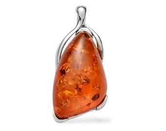 Simulated Orange Amber Resin Free Form Pendant in Silver-tone Without Chain