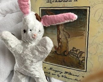 The Velveteen Rabbit with hand stitched vintage rabbit. Gift set.
