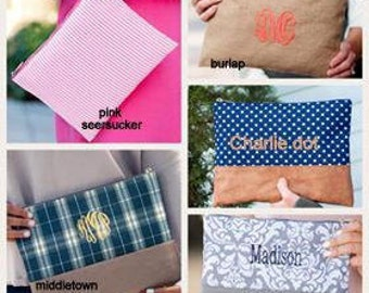 personalized zip pouch, monogrammed zip pouch, personalized cosmetic pouch