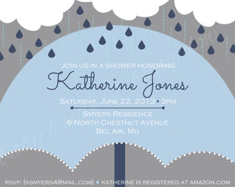 Baby boy shower invite with umbrella, 5x7: Printable and customizable (front design only)