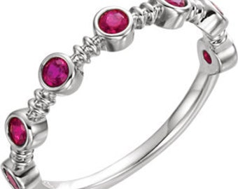 Ruby 14K White Gold Ring, Bezel Gemstone Band, Alternative Engagement, Anniversary