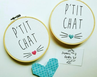 """Embroidery """"P"""" little cat and his nose """"onto embroidery hoop"""