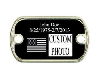 Memorial IR American Flag 2 Holes Stainless Steel Mini Dog Tag For Paracord Bracelets