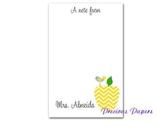 Personalized yellow chevron apple notepad teachers yellow chevron apple note pad teachers gift