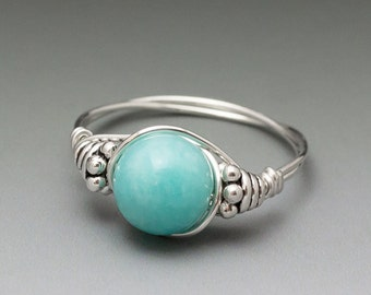 Peruvian Blue Amazonite Bali Sterling Silver Wire Wrapped Gemstone Bead Ring - Made to Order, Ships Fast!