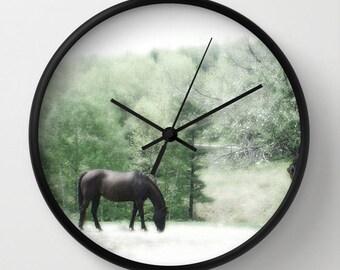 Horse in Field, Photo Wall Clock, Equestrian Clock, Retro Wall Clock, Home Decor, Round Clock, Beach Clock, Home Accessories,Interior Design