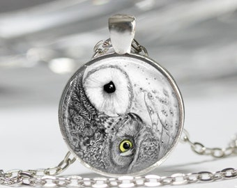 Yin Yang Owl Necklace Bird Jewelry Zen Nature Art Pendant in Bronze or Silver with Link Chain Included