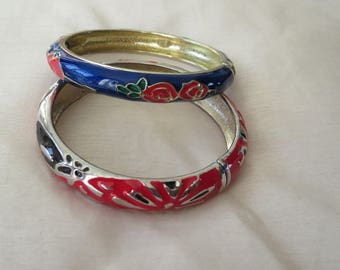 Vintage two colourful blue and red, red and black cloisonne clamper bangles