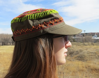 Adorable Military Style Hand Embroidered Cap Design #101