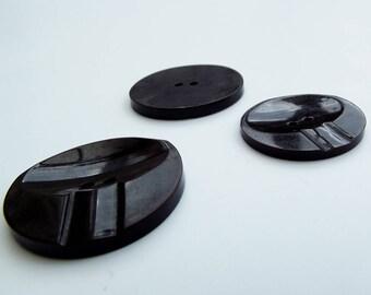 Vintage Buttons - Large Brown Jacket/Coat Buttons- set of 3