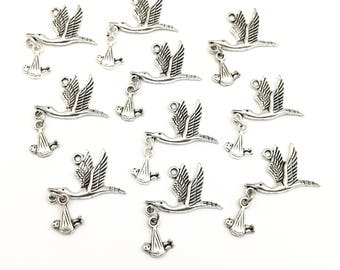 BULK! 10 stork with baby charms silver tone,25mm x 30mm #CH 266