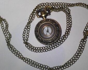 Zodiac Pocket Watch / Necklace or Keychain Astrology