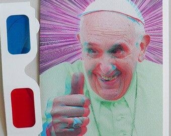 3D Anaglyph Pope Francis Thumb Up! Blank Greeting Card