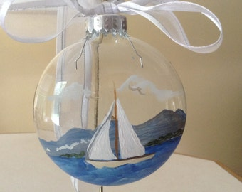 Ornament,  glass,  sailboat on water, hand painted